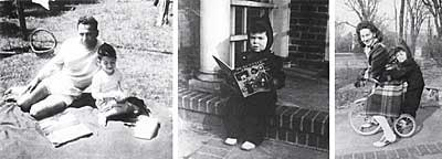 Left to right: David with his father Max in 1946; David as an early reader; and with his mother Jeannette in 1943. © David Ehrlich.