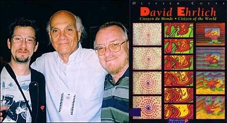 Ehrlich greets Olivier Cotte, the author of David Ehrlich: Citizen of the World (left) and animator Borivoj (Bordo) Dovnikovic in Zagreb (2002). Photograph © David Ehrlich; book cover: © David Ehrlich and © Dreamland