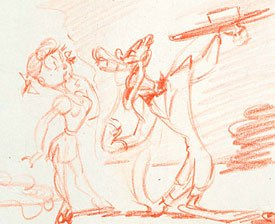 Bob Clampett's Coal Black and De Sebben Dwarfs could be the greatest wartime short of all time. This sketch is drawn by the great animator Rod Scribner. Courtesy of Bob Clampett Collection.