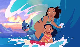 Deja's main concern was to keep Sanders' original visual ideas of the characters intact. Here, Lilo, Nani and Stitch hit the waves.
