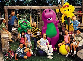 Psychologists routinely analyze children's shows such as Barney & Friends and come up with data on what is being taught. Photo by Dennis Full. © 2002 Lyons Partnership, L.P. All rights reserved.