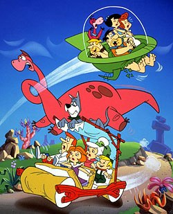 Would TV stations have tried to sell this rare meeting between the Flintstones and the Jetsons as a lesson in time travel? Courtesy of Cartoon Network.