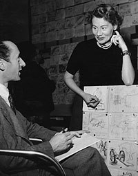 John Halas (left) and Joy Batchelor work on Animal Farm. © The Halas & Batchelor Collection Limited. Courtesy of the Animation Research Centre Archive.