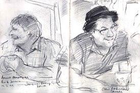 Joanna Quinn captures Jacques-Rémy Girerd (left) and Chris Robinson in Rio. © Joanna Quinn.