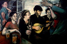 Marcy Page's oil painting, Abraçando o Jacaré, recalls the night she, Iain Harvey and Normand Roger visited a club with a chorinho band and watched a couple dance with abandon. Iain stands by the open window. © M. Pag