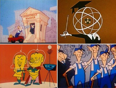 More moments from Sutherland Productions' animated propaganda shorts (clockwise from top left): What Makes Us Tick, A is for Atom, Destination Earth and Its Everybodys Business.