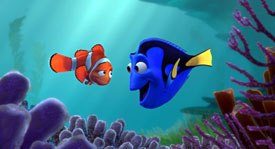 Marlin (left), a frantic father whose son Nemo has been unexpectedly taken from his home, enlists the aid of a friendly-but-forgetful fish named Dory (right) in his rescue mission. © Disney/Pixar.