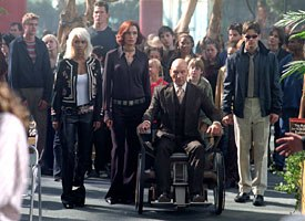 Xavier (Patrick Stewart), seated in the wheelchair and seen here with Storm (Halle Berry), Jean Grey (Famke Janssen) and Cyclops (James Marsden), is portrayed as too much of a victim in this sequel.