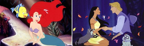 Little Mermaid and Pocahontas are interpreted as both feminist and anti-feminist propaganda by the right and left. © The Walt Disney Company.