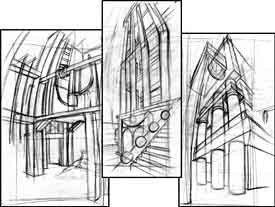 These three thumbnails sketches are from my first-year layout student, Jacques Daigle.