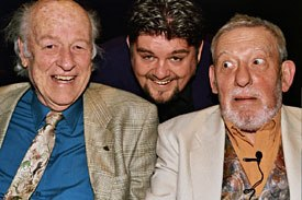 The audience for Animated Anecdotes was treated to an evening with Ray Harryhausen (left) and Bob Godfrey (right). Comedian Andre 'Vinnie' Vincent hosted the event.