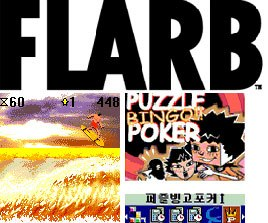 Veteran wireless content studio Flarb has produced the games Cali Surf (bottom left) and Puzzle Poker (bottom right). All images and content are copyright FLARB development. FLARB is a trademark of FLARB Development.