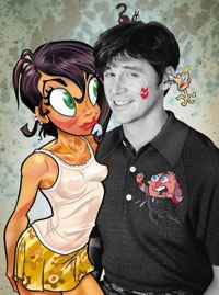 Seibert gives all props to John Kricfalusi, seen here with some of his creations. © Spumco.