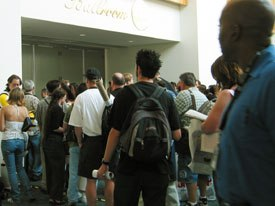 Con attendees wait anxiously to catch a glimpse of Halle Berry and the cast of Gothika outside the over-packed ballroom. Photo courtesy of AWN.