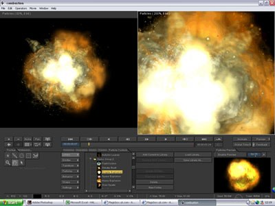Particle effects such as explosions can be created quickly and easily using combustions extensive library of emitters.
