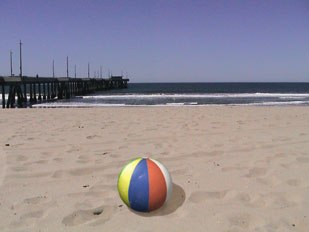 [Figure 46] Final comp of the beach ball over beach background.
