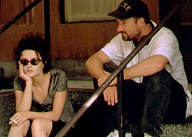David Fincher on the set of Fight Club with Helena Bonham Carter. © 20th Century Fox.