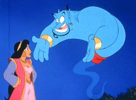 Goldbergs Genie (along with some help from Robin Williams) stole the show in Aladdin. Courtesy of Disney Pictures. © Disney Enterprises, Inc.