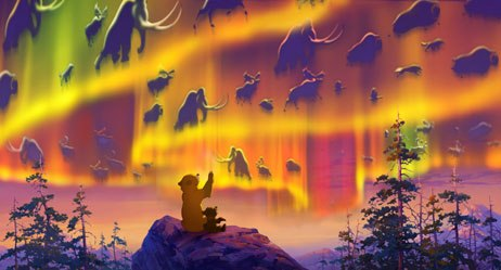 Kenai, a young man who has been transformed into a bear, and his cub friend, Koda (right), encounter the Great Spirits on the mountain where the light touches the earth.