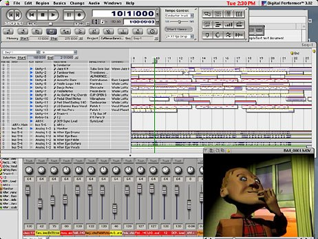 Digital Performer music composition screen from a commercial. Music by Sound O Rama and production by A&S Animation, Inc.