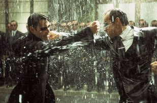 The final battle between Neo and Agent Smith.