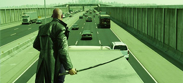 The freeway chase scene in The Matrix Reloaded is action set piece of gigantic proportions.
