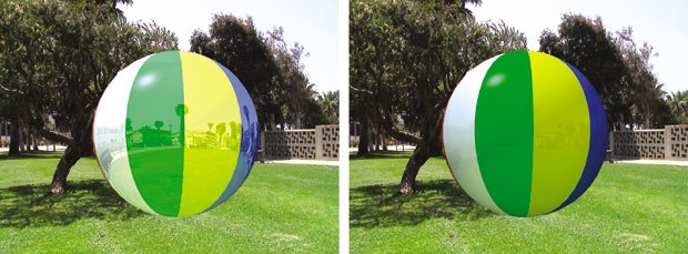 [Figure 9] A beach ball with full reflection on the left, and a beach ball with reflection dialed in to match the background on the right.