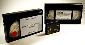 [Figure 2] Master tape formats. From the left are BetaSP, Mini DV and SVHS.