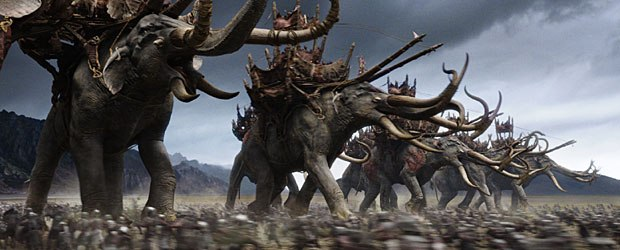 Jackson strived for a photoreal look in the vfx shots as in this scene where the Mumakil advance in the battle at Pelennor Fields.