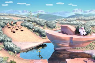 The Montana landscape is a visual highlight of the film. © 2003 Pixar.