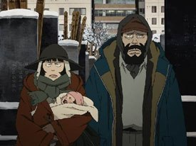 Tokyo Godfathers has a Hollywood pedigree being based on John Fords 3 Godfathers. Photos courtesy of Destination Films and Samuel Goldwyn Films.
