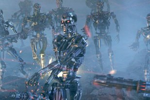These Terminators were created completely in the computer for T3. Photo by ILM - © 2003 IMF Internationale Medien und Film GmbH & Co. 3 Produktions KG.