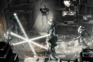 The mechanized retro visual style of Sky Captain is evident in the design of the killer robots, sets and lighting.