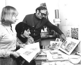 Zdenka, Milue Hluchaníová and me at the Prague studio in 1976, working on Strega Nonna, an adaptation of the Tomie de Paola childrens picture book, for Weston Woods.