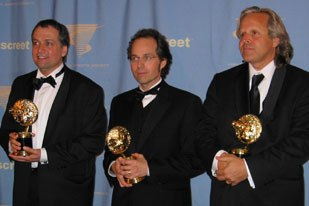 LOTR: ROTK won four awards including the top prize of outstanding vfx in a motion picture. Accepting were (left to right) Joe Letteri, Dean Wright and Jim Rygiel. Absent was Randall William Cook.