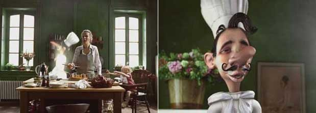Moving Picture Company produces classic 3D animation in its spots for Schwartz the French chef. Courtesy of Moving Picture Company.