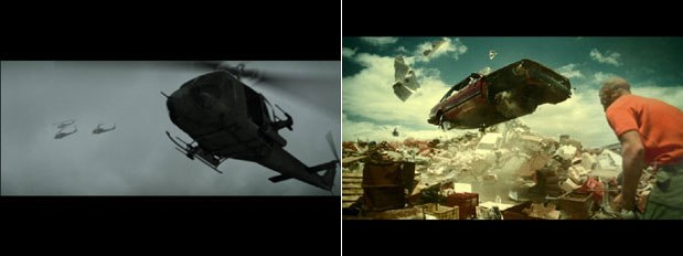 Rushes shows the evolution of war in a music video for Beta Band (left). On the right is a spot Rushes produced for European cellphone operator Oskar. Courtesy of Rushes.