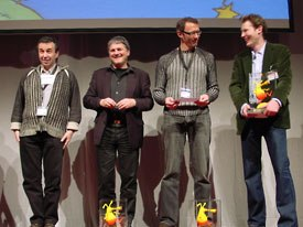 Cartoon Movie Tribute awards went to (left to right) Patrick Eveno and Jacques-Remy Girerd of Folimage, Karsten Kiilerich of A. Film and Charlie Mitchell of Pathé U.K.