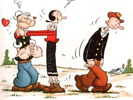 Unlike with Krazy Kat, Deitch was able to include the comic stripss characters from Popeye in the animated series. Above, Olive Oyl chooses Popeye over Ham Gravy.