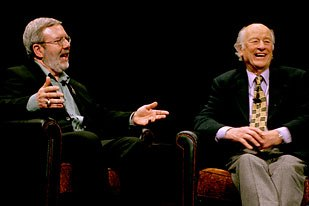 Harryhausen and Leonard Maltin talk during the George Pal Lecture on Fantasy in Film last month at the Academy of Motion Picture Arts and Sciences. © A.M.P.A.S.