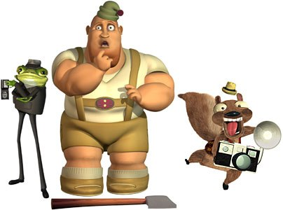 The filmmakers benefited from the affordable animation software now available. This movie could not have been made for the same price years ago. Above are Nicky Flippers (left) The Woodsman (center) and Twitchy.