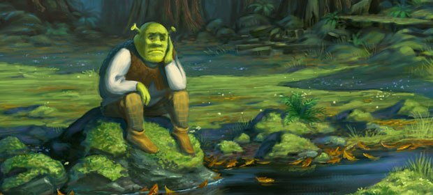 Shrek contemplates by a stream before being attacked by Puss n Boots. Visual development design by Shannon Jeffries.