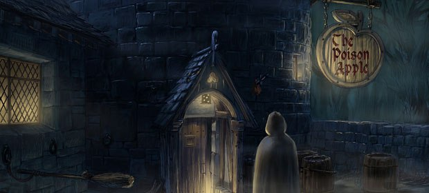 Things turn spooky at the entrance to the inn. Visual development design by Alex Puvilland.