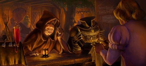 Daddys evil plot is revealed in a bar. Visual development design by Peter Zaslav.