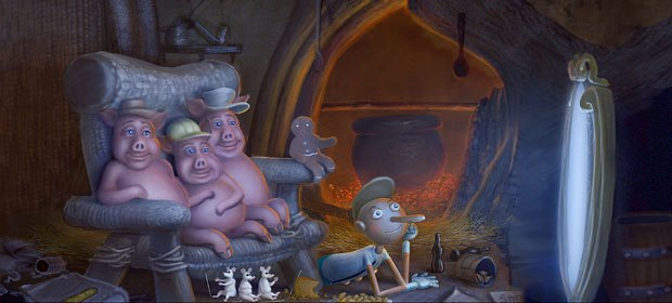 Familiar childrens storybook characters watch a magic mirror TV. Visual development design by Yuri Bartoli.