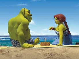 Shrek and Fiona get ready to interact with fluids in this homage to From Here to Eternity.