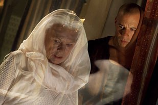 The tri-camera methodology developed for Lord Marshal was later applied to Aeron, an alien character played by Judi Dench, to make her appear transparent. Photo Credit: Universal Studios.