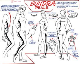Model sheets for Sundra Peale.