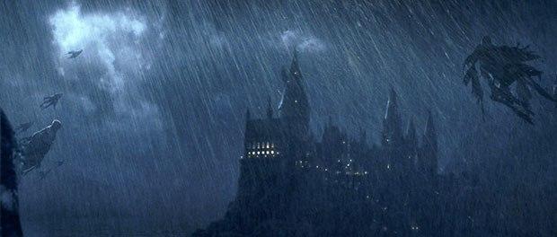 The Dementors arrive in a driving rainstorm.