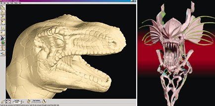 [Figures 26 & 27] SensAble Technologies FreeForm system enables the modeler to create models using an intuitive sculpting tool and enables the export of NURBS patch models. Dinosaur model by Tom Capizzi; Demon model courtesy of C.H. Wang